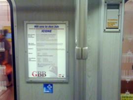 Plakat aus der U-Bahn-Werbung